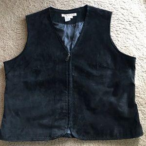 A.M.I. Black suede leather zip vest XL